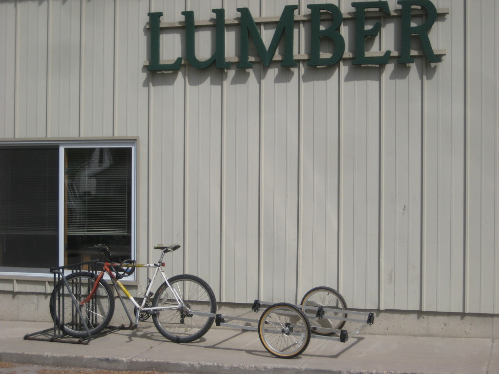 at the lumber yard with the trailer frame