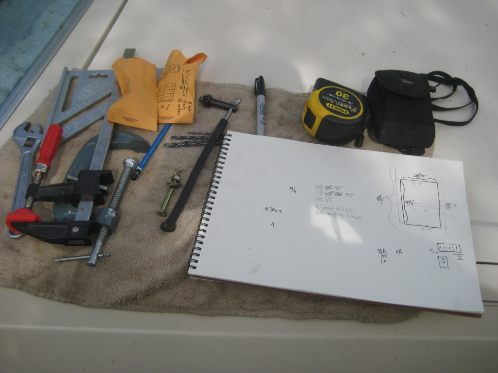 notes and materials for the trailer floor